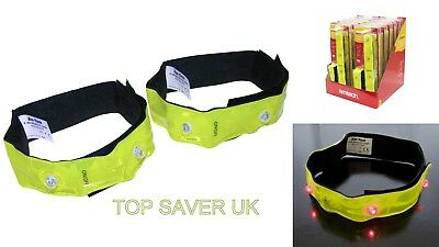 AmTECH 2PC 4-LED RFLECTIVE SAFETY FLASHING ARM BANDS FOR RUNNING HIKING CYCLING