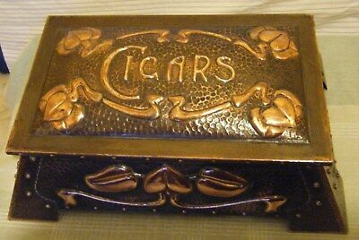 A Rare Art Nouveau Copper Cigar box by j and F Pool Hayle Cornwall 1900's