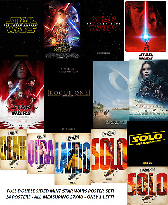 STAR WARS LAST JEDI FORCE AWAKENS ROGUE ONE SOLO DS 27X40 Movie Poster Set MINT!