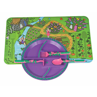 Constructive Eating Garden Fairy Plate with 3 piece Utensil Set and Placemat New