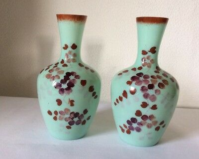 Pair Mint Green Handpainted Bristol Opaline Glass Vases Flowers Antique Vintage