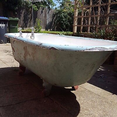 Cast iron roll top bath - complete with globe taps