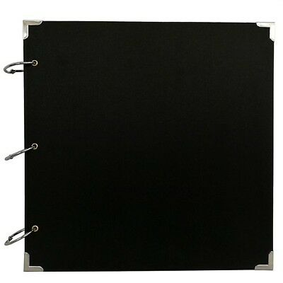 Large Plain Black Guestbook with Silver Protective Corners Weddings, Birthdays