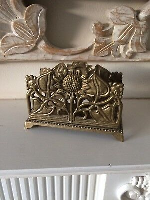 Beautiful Vintage Arts & Crafts Brass Sunflower Design Letter Rack