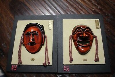 Chinese Wooden Carve Red Stained Mask Decor Pair*