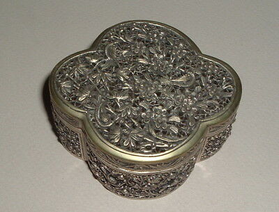 Fine Signed Antique Chinese Pierced Sterling Silver Box Birds Qing -- No Reserve