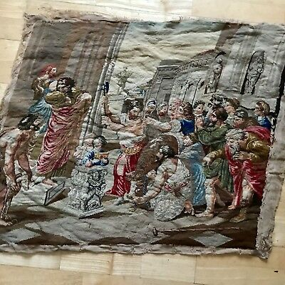 Antique 1800s French Tapestry Wool/Silk Hanging Panel Flemish Aubusson Heirloom