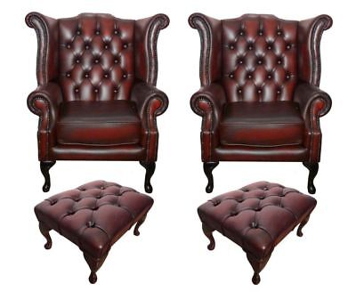 2x Chesterfield Queen Anne Chairs and 2x Footstool set in Oxblood Red