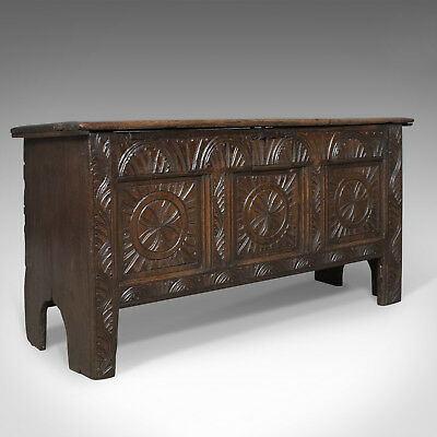 Antique Coffer, Early 18th Century Trunk, English Oak Sword Chest, circa 1700