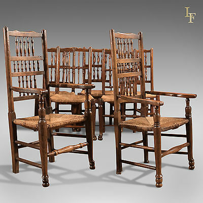 Harlequin Set of 7 Antique Spindle Back Dining Chairs Lancashire Country c.1800
