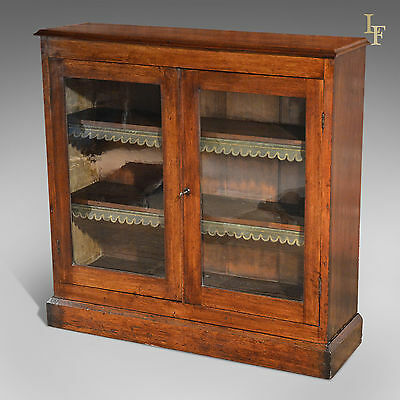 Antique Glazed Bookcase Victorian Side Library Cabinet Display Case English Oak