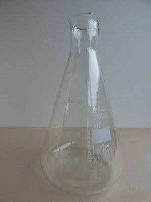 Lot of Three Simax 2000ml Conical Flask