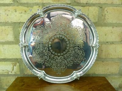 """A nice Vintage 12 3/4"""" serving tray silver plated  on three feet EPNS"""