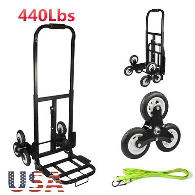440lbs Heavy Duty Portable Stair Cart Climb Hand Truck Dolly W/ Wheels Free Rope
