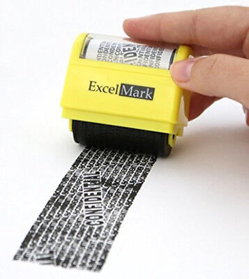 Rolling Identity Theft Guard Stamp Secure Ink Protection Mini Office Supplies