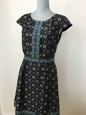 New J.Crew  Sz 4 100% Silk Cap-Sleeve Dress in Mirrored Floral Multi # E9767