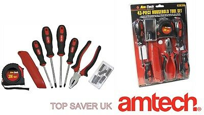 Am-TECH 43pc HOUSEHOLD TOOL SET MULTITOOL SCREWDRIVER TAPE MEASURE HARDWARE KIT