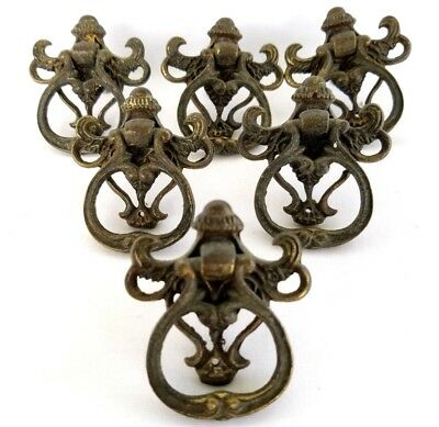 6 Antique Brass Ornate Drop Ring Drawer Door Pull Hardware Furniture Reclaimed