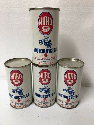 Vintage Lot of 4 Nitro 9 For Motorcycles 4 Oz. Oil Cans  All Metal
