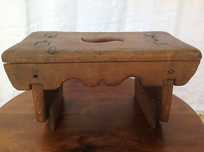 Antique Rustic Primitive Hand Carved Wood Bench / Step Stool