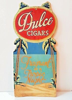 Rare 1930s Vintage DULCE CIGARS EASEL ADVERTISING SIGN Store Display Art Deco