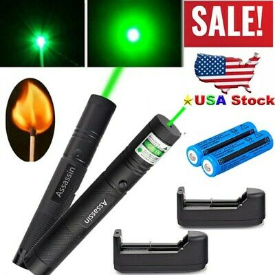 2PCS 50Mile Assassin Powerful Green Laser Pen 532nm Visible Beam+Battery+Charger