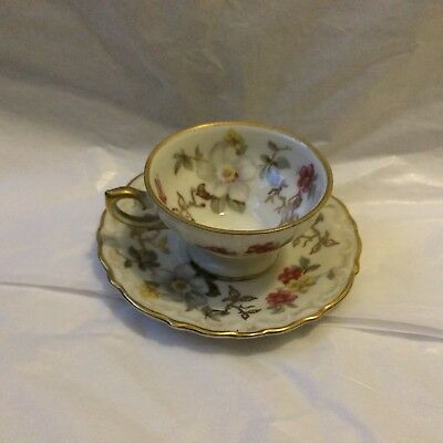 Antique Winterling Bavaria Rare Floral Tea Cup And Saucer