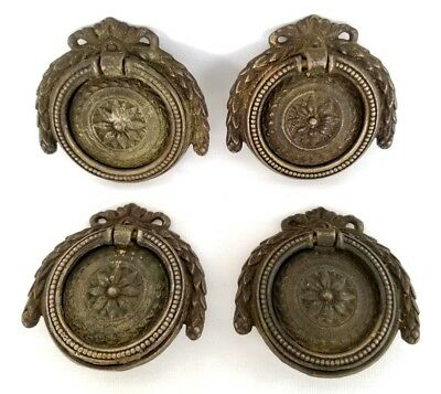 4 Ornate French Brass Ring Drop Drawer Pull Reclaimed Furniture Hardware Patina