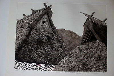 TANAKA RYHOEI Miyama Roofs No. 1 Japanese etching very large  1982  $1 START