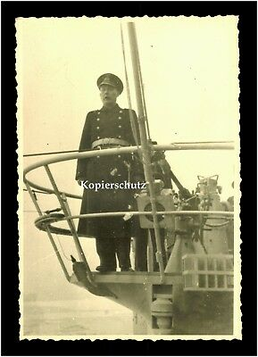 Foto Deutsche Kriegsmarine U Boot Turm MG Commander Sous marin German Navy WW 2