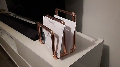 Copper Letter Rack, Magazine Rack, rose gold, new, handmade, metal, bespoke