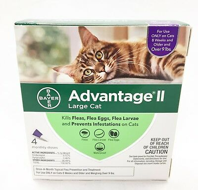 Advantage II for Large Cats Over 9 Lbs-4 Pack-Genuine EPA Approved FREE Shipping
