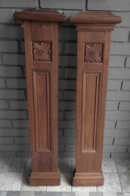 pair Antique ARCHITECTURAL Wooden COLUMN / POSTS FACADES