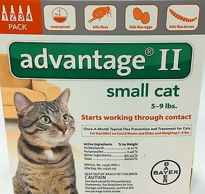 Advantage II for Small Cats 5 - 9 lbs 4 Month Supply USA EPA APPROVED