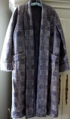 Vintage Mens Genuine Beacon Fabric Blanket Robe Blue Plaid No Belt