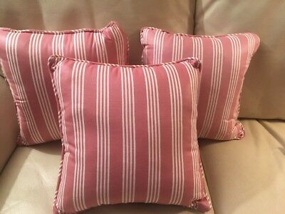 """Longaberger Fabric Accent Bed Pillow (12"""" Square) Dusty Rose Stripe"""