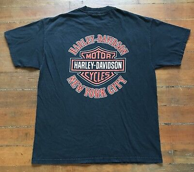 Vintage Harley Davidson New York City NYC T-Shirt Shield Logo Faded Black (L)