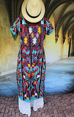 Turquoise Traditional Valle Nacionale Hand Woven Huipil Oaxaca Tree of Life