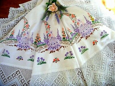 Exquisite Vintage Large Hand Embroidered Tablecloth Crinoline Ladies Garden Lace