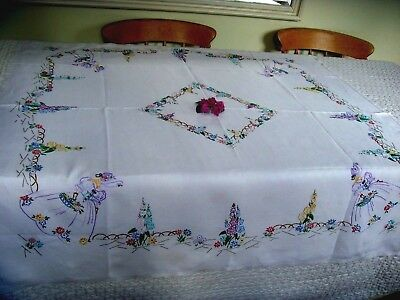 Vintage Hand Embroidered Large Tablecloth ~ Beautiful Crinoline Ladies Garden