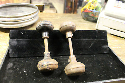 2 Pairs (sets) Vintage Antique Steel Door Knobs with Spindles