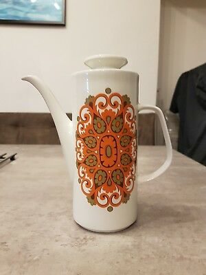 Vintage J&G Meakin Madrid Coffee Pot Retro Mod 1960s 1970s Orange