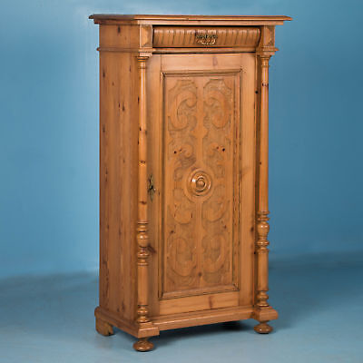 Carved Antique Single Door Pine Armoire From Denmark
