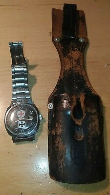 German WWII Red cross Leather bayonet Frog & Red cross wind up watch, working