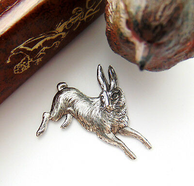ANTIQUE SILVER Vintage RABBIT Stamping ~ Ornament Finding Oxidized (CA-3035)