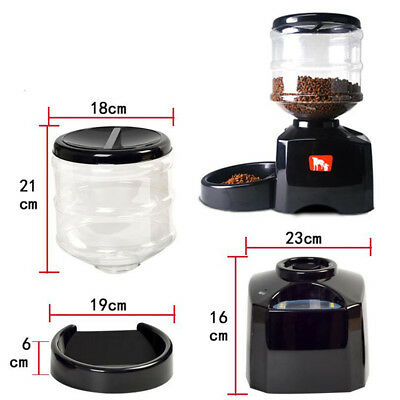 5.5L Automatic Pet Feeder Timed Animal Dog Cat Lunch Food Water Bottle Dispenser
