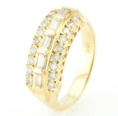 14K Yellow Gold Vintage/Estate Collection 3 Row Baguette Natural Diamond Ring