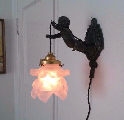 Vintage French Sconce Chandelier Light Fixture Angel Cherub Shabby Chic Paris