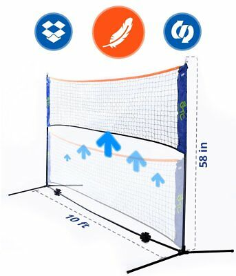 Portable 10 Foot Long and 5 Foot High - Adjustable Height Badminton, Volleyball,