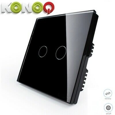 KONOQ+ Luxury Glass Panel Touch LED Light Wall Switch : ON/OFF, Black,2Gang/2Way